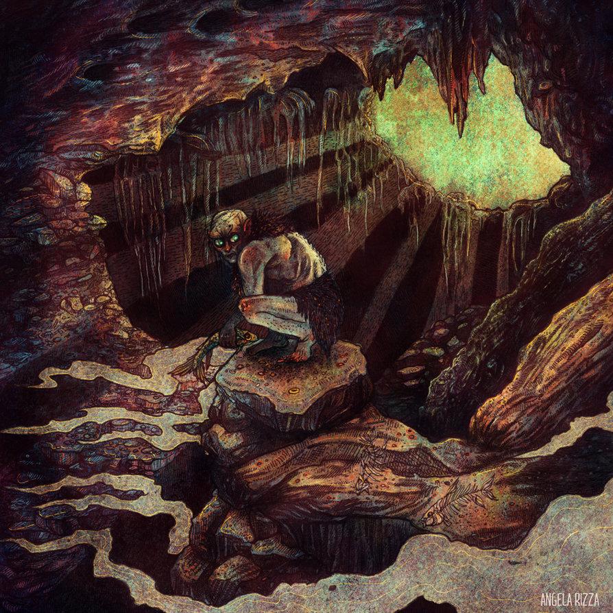 Drawn cavern smeagol Gollum AngelaRizza by Gollum DeviantArt