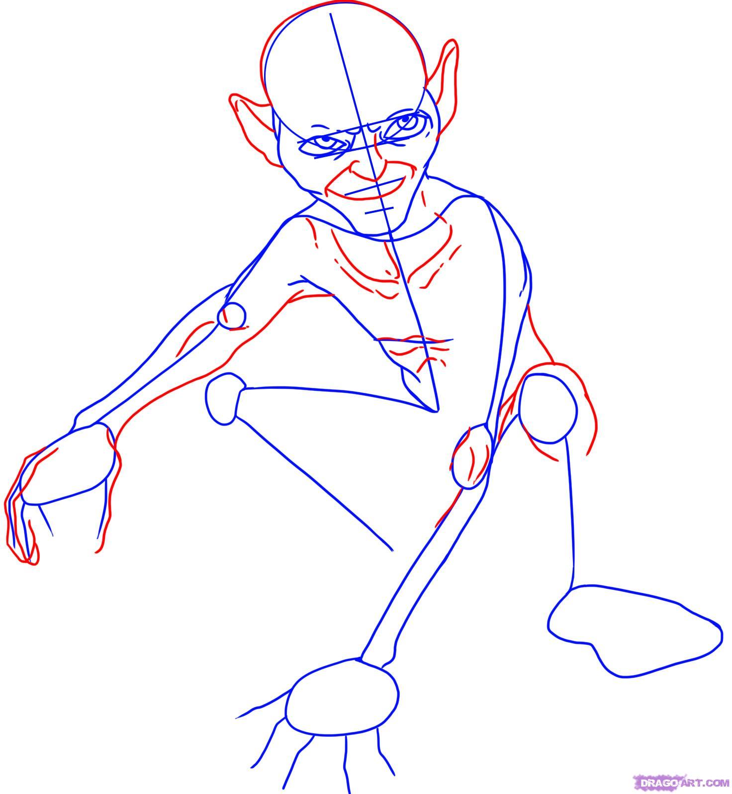 Drawn cavern smeagol Gollum Draw Step step how