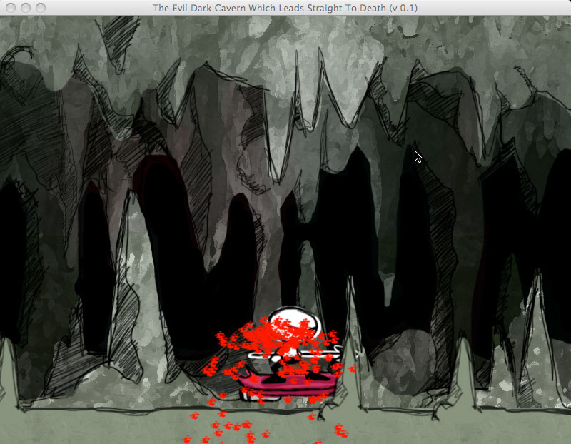 Drawn cavern sprite Character bleeding Ludum Dare