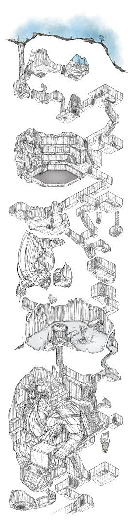 Drawn cavern stage Stage I'd delve cavern Thought
