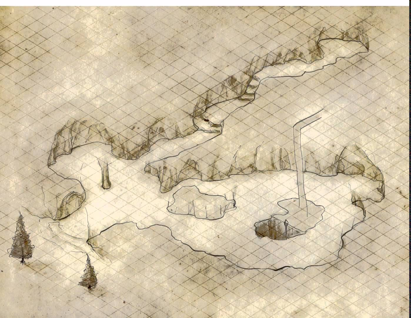 Drawn cavern stage An iPad on map the
