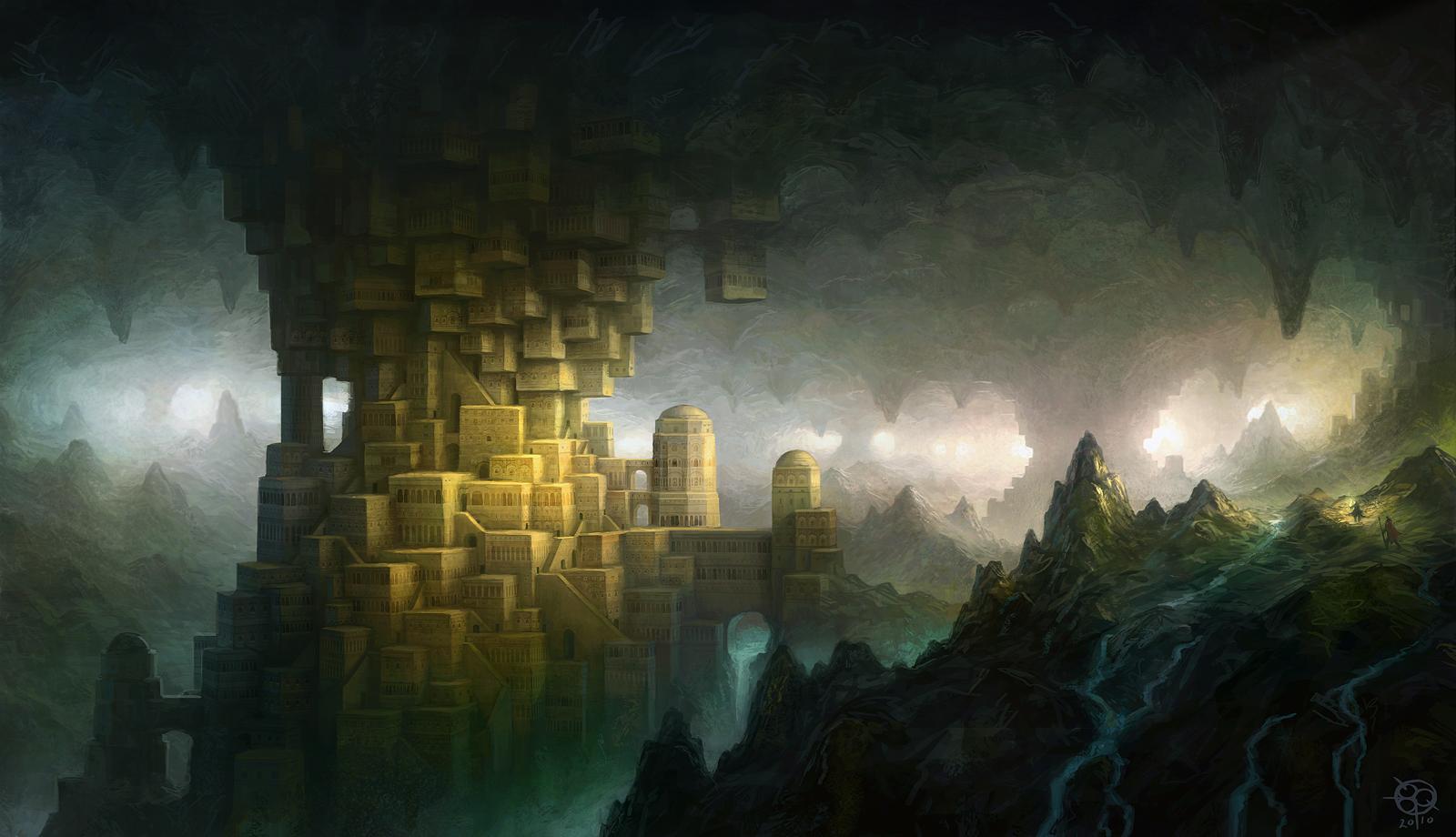 Drawn cavern subterranean Cavern hidden cavern cities artwork