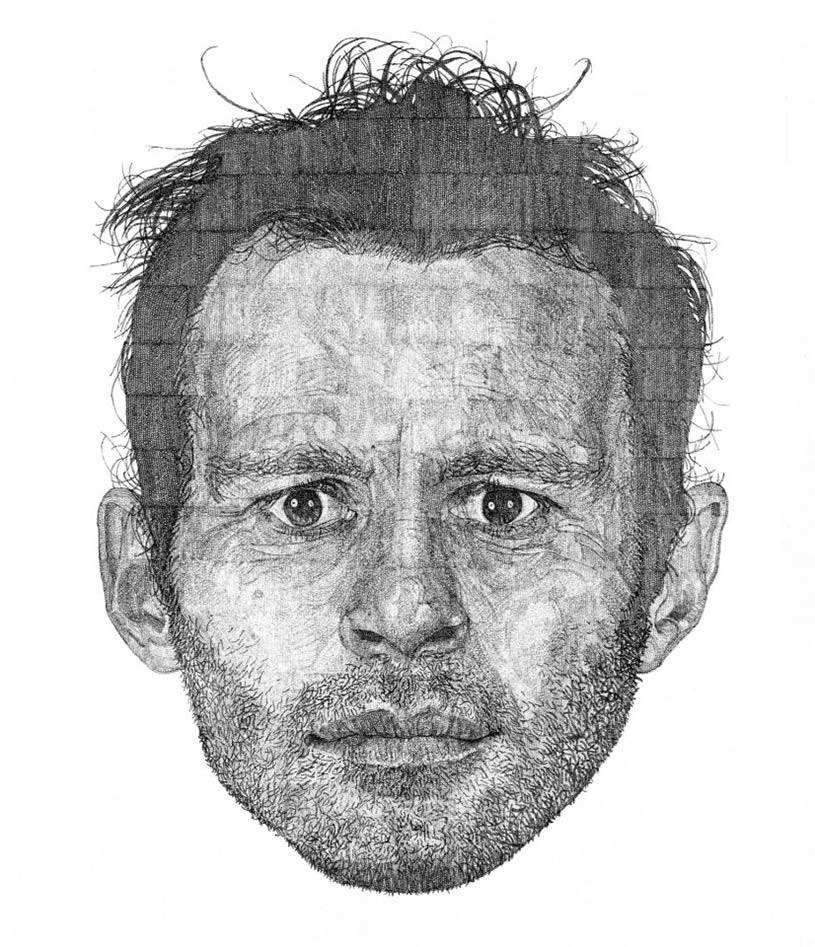 Drawn portrait pointillism Pen In Pointillism Circles: 03