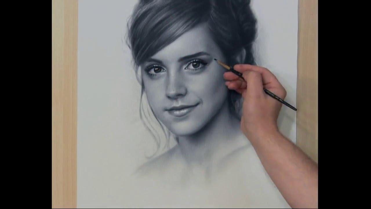 Drawn portrait black and white Speed Drawing Speed Сухая Рисование