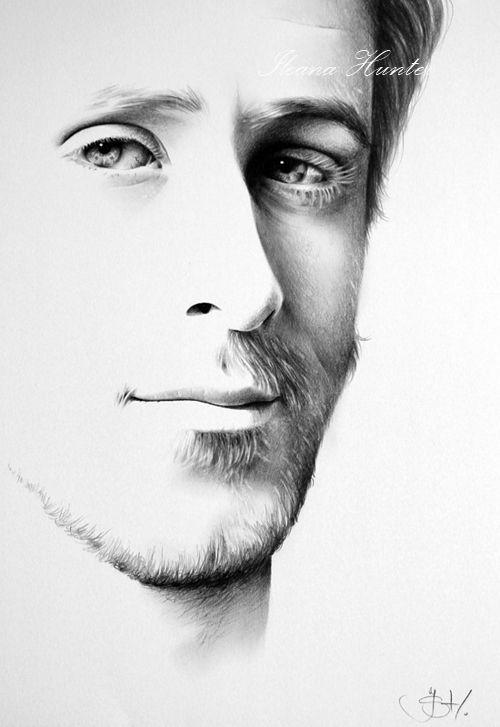 Drawn portrait minimal Drawing and Realistic Pencil Graphite