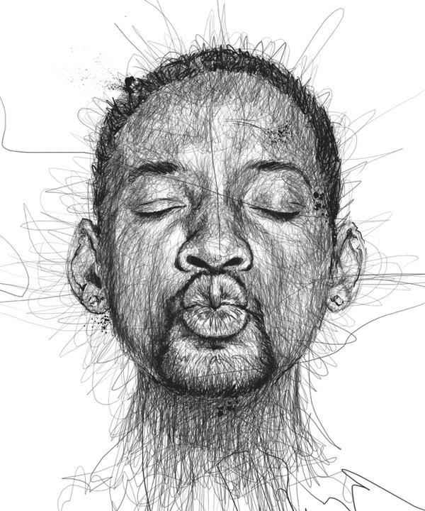 Drawn portrait black pen Epically Pen Stars Pen Drawn