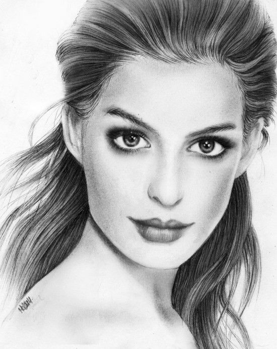 Drawn portrait sketch Hathaway Best Pinterest ideas by