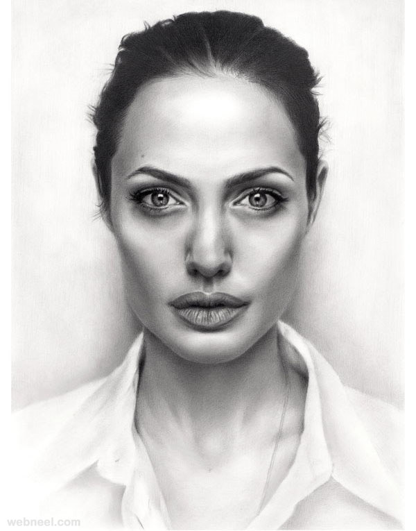 Drawn portrait portait Jolie portrait Drawings jolie angelina