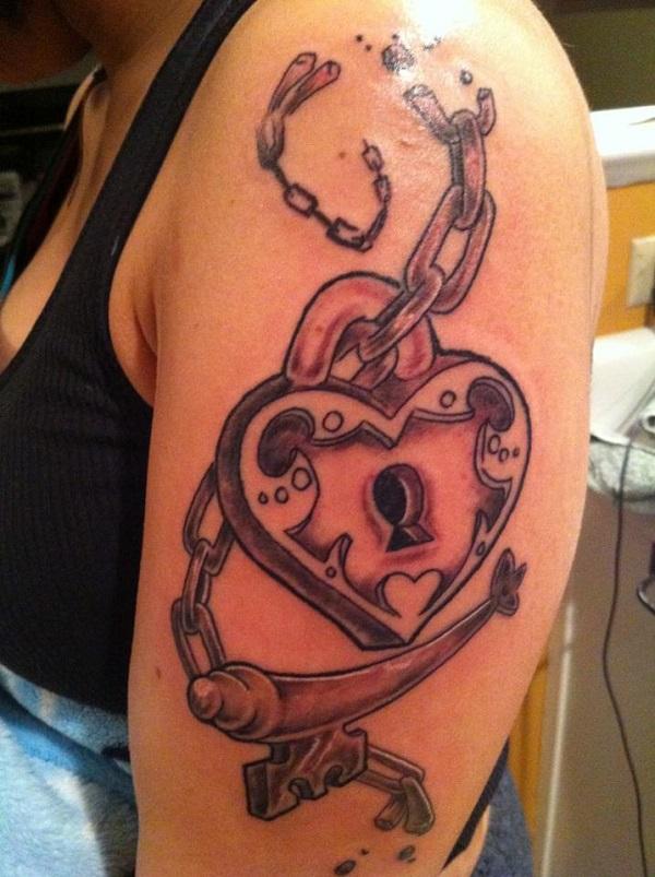 Drawn lock The 35 design Tattoos Keys