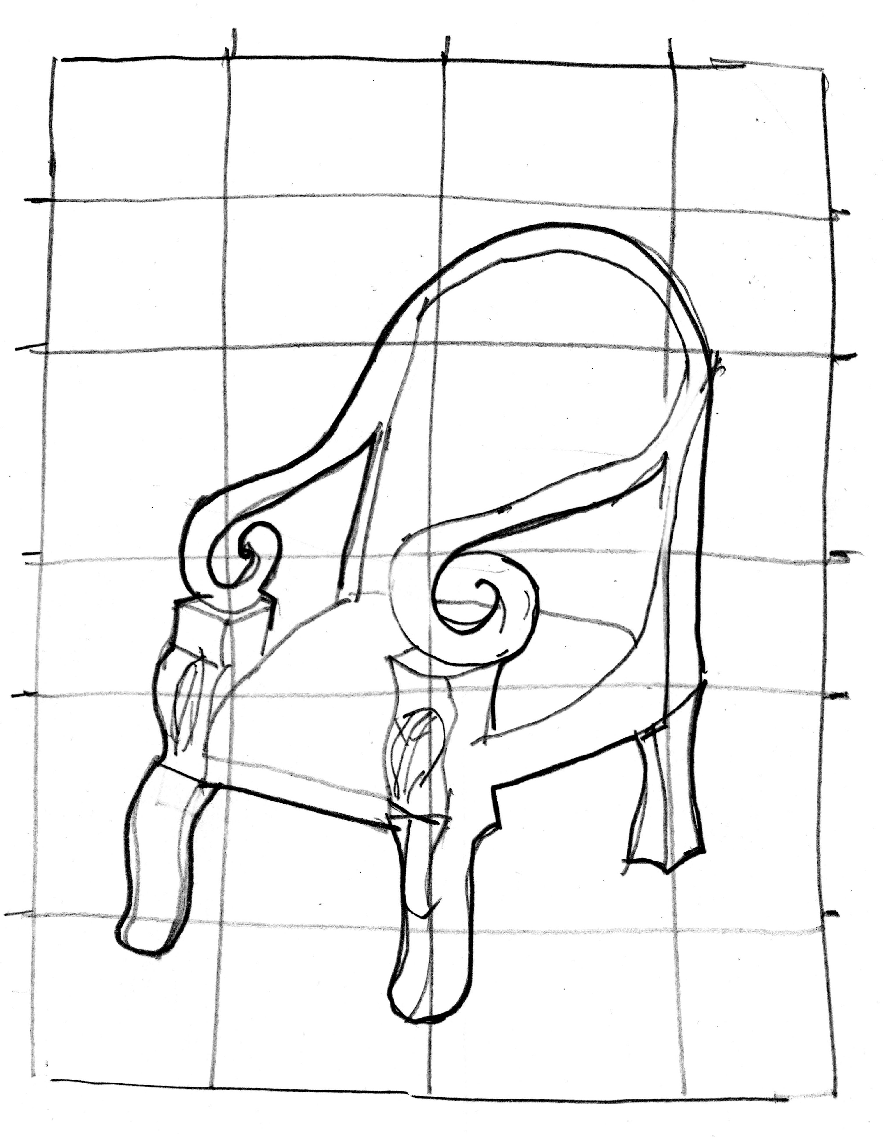 Drawn chair elevation Demonstration Hand Drawing Page I
