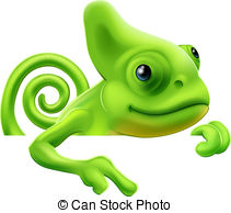 Drawn cameleon cute Vector EPS pointing of An