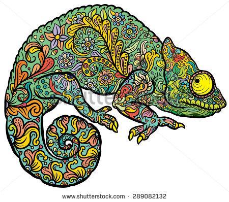 Drawn reptile zentangle Vector  Chameleon Hand in