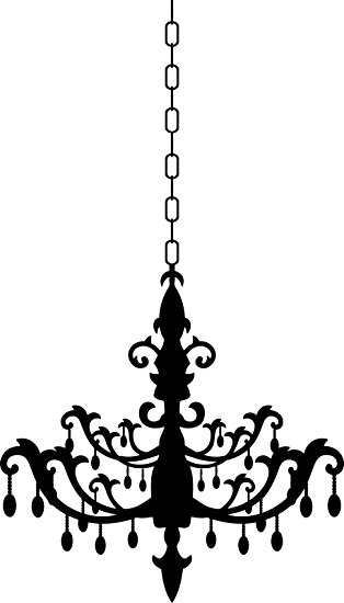 Drawn chandelier wall decal Studio 26 24  Inches