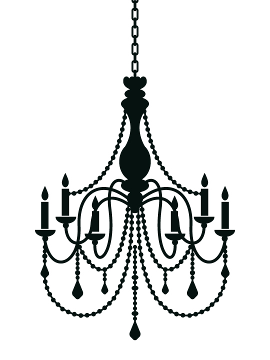 Drawn chandelier wall decal Empty boring Deco Wall Wall