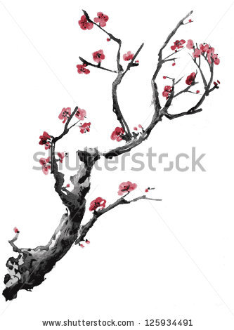 Drawn sakura blossom japanese plant Isolated painting Realistic watercolor background