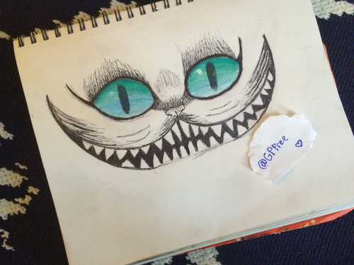 Drawn cheshire cat blue Image  Cheshire sharpie drawing