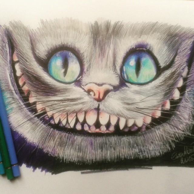 Drawn cheshire cat creative On #scribble cat #fabercastel #illustraton