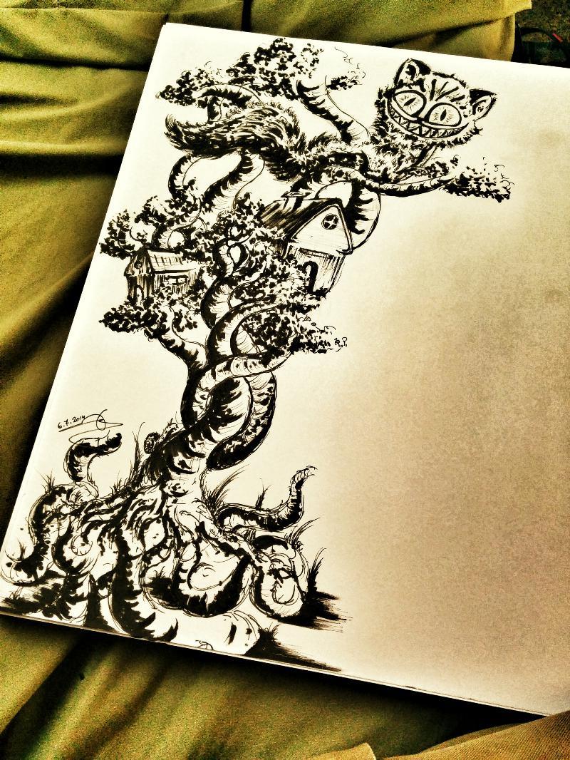 Drawn cheshire cat doodle Amit Cat  Cheshire Sadik
