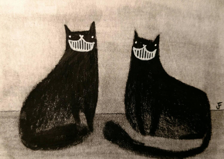 Drawn cheshire cat horror monster Cat Cat Art Folk Art