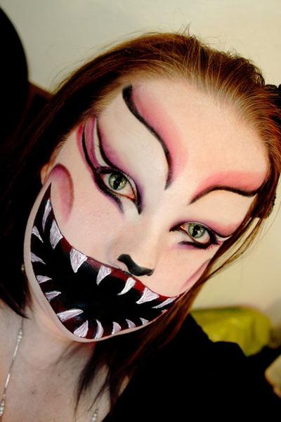 Drawn cheshire cat horror monster Glitter costume Cat cat makeup