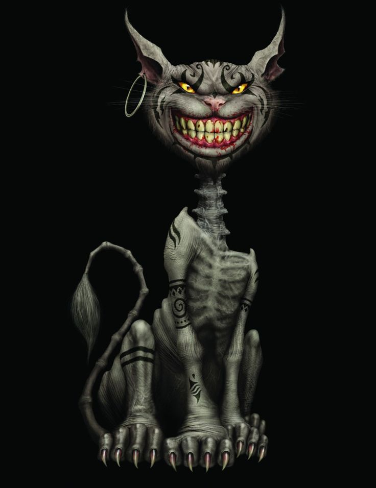 Drawn cheshire cat horror monster About of wonderland favorite in