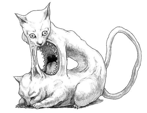Drawn cheshire cat horror monster • art • morbid art