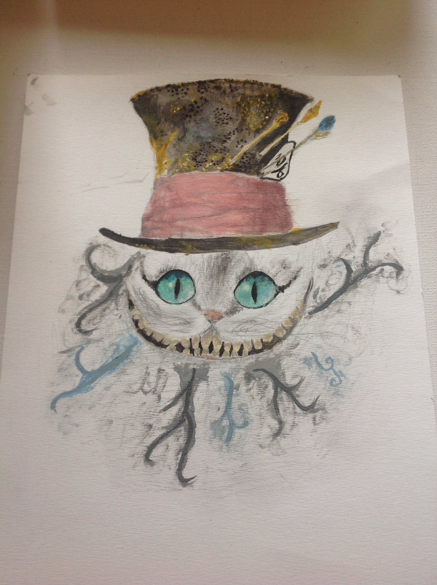 Drawn cheshire cat mad hatter Mad candles My drawing drawing