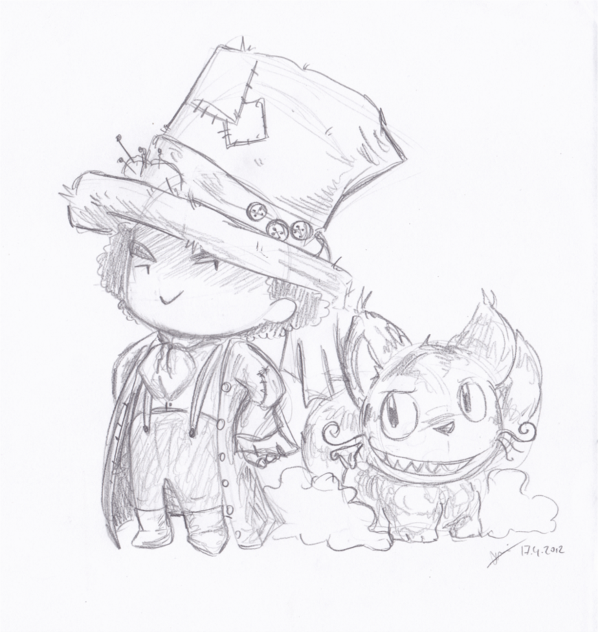Drawn cheshire cat mad hatter Mad Hatter by LeniProduction and