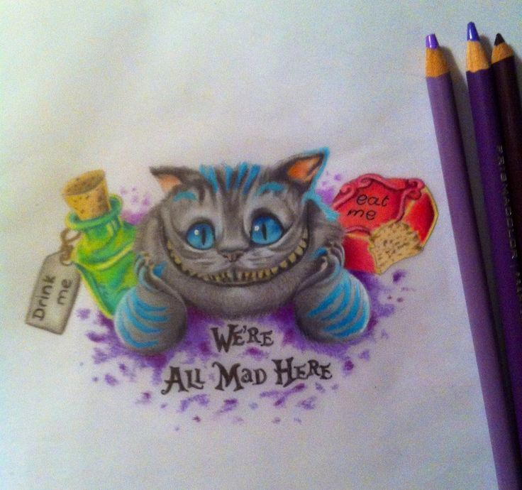 Drawn cheshire cat mad here We're deviantart images DrawingWonderland 44
