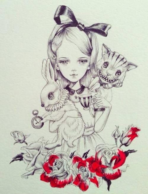 Drawn alice in wonderland rose #4