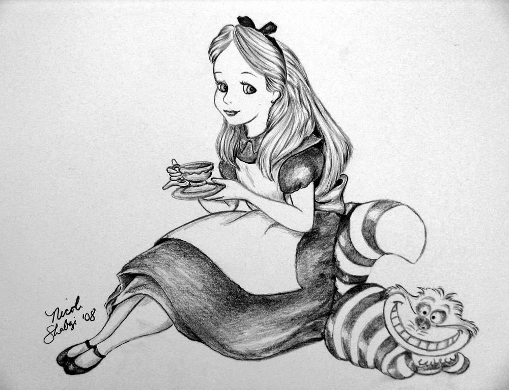 Drawn cheshire cat rabbit In drawing wonderland Alice in