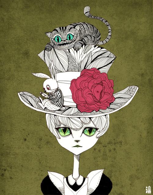 Drawn cheshire cat rabbit  My ink painting animals