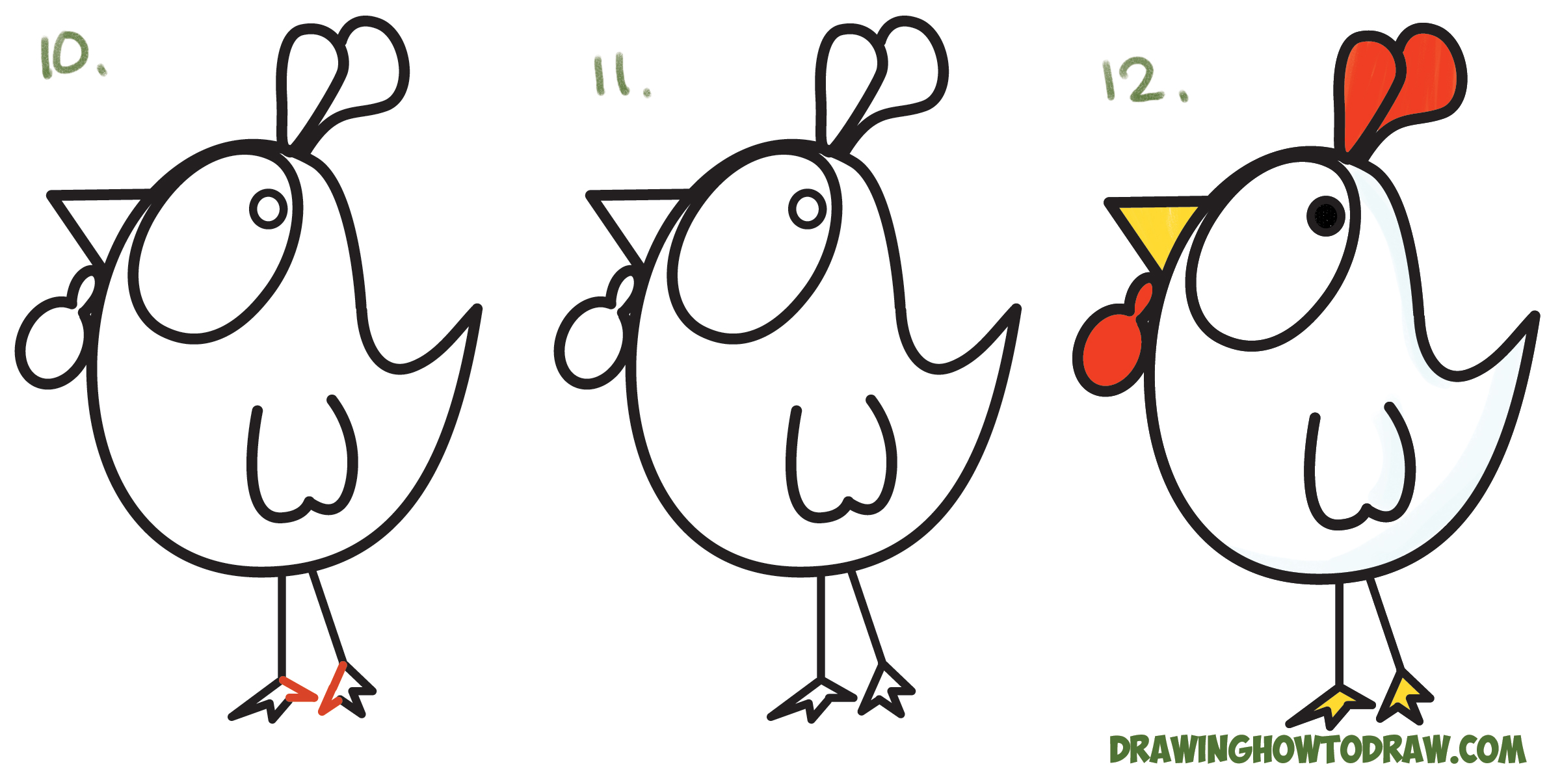 Drawn rooster chicken Learn Cartoon ? Chicken and