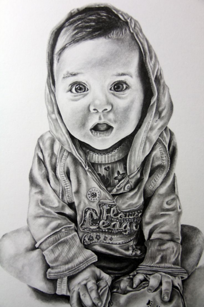 Drawn portrait baby On Baby With Drawn Pencil