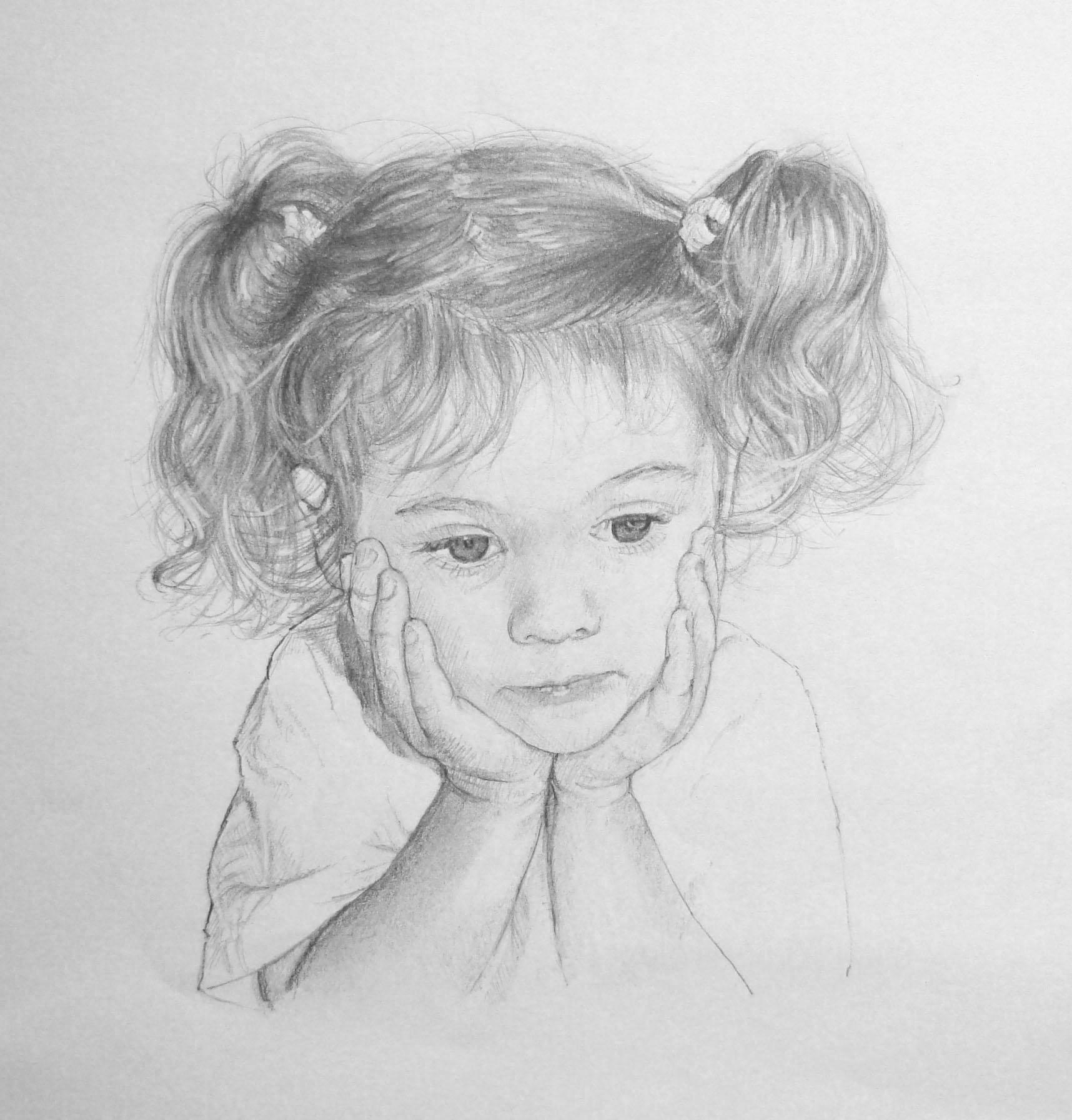 Drawn portrait children's face Bregman Artist affordable portraits people