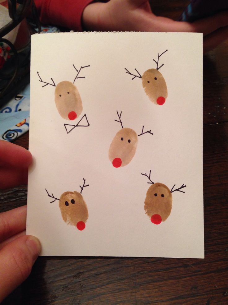 Drawn reindeer card easy Hand Christmas Drawn and Card