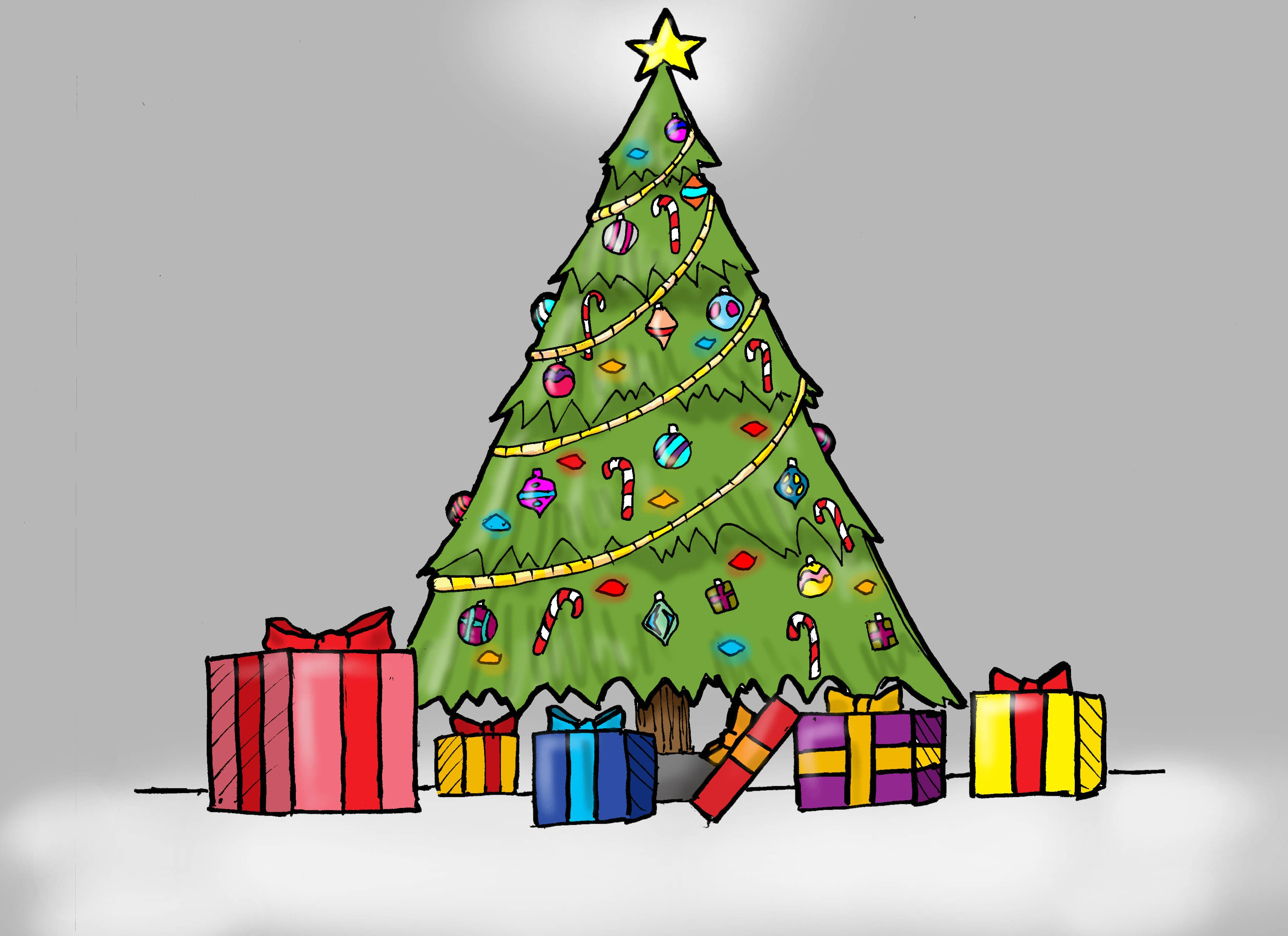 Drawn amd christmas tree Christmas (For Presents A With