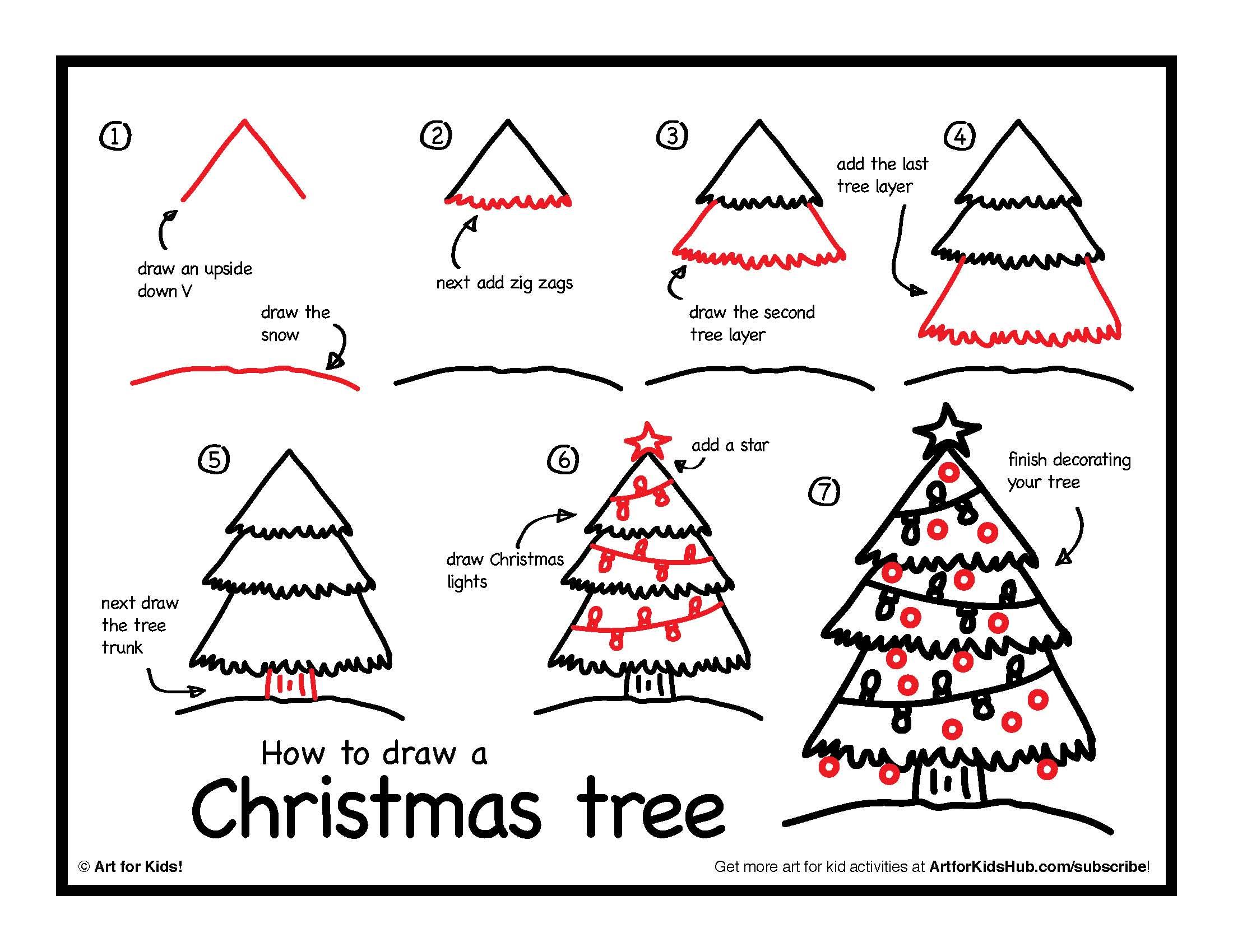 Drawn santa christmas tree A tree To For How