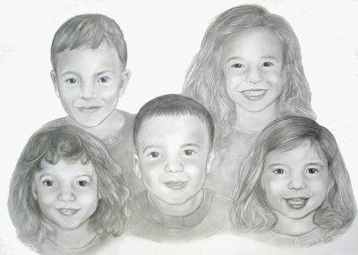 Drawn portrait family Drawn group Families portrait children