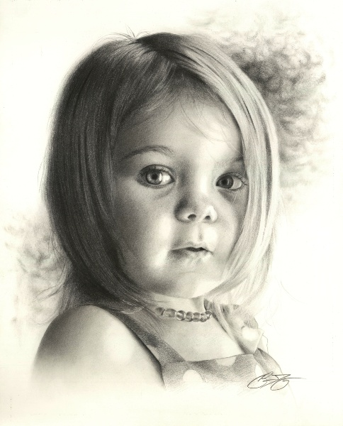 Drawn portrait children's face Drawing of Megan by