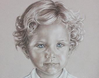 Drawn portrait kid Child Photo Portrait Painting Custom