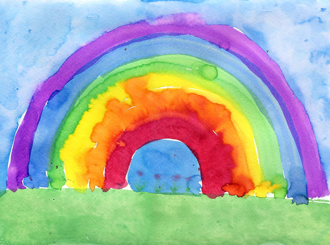 Drawn rainbow watercolor painting Rainbow on best watercolor 96