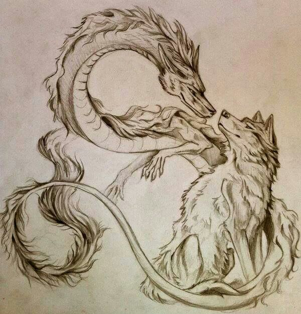 Drawn chinese dragon awesome Wolf best together head Tattoo