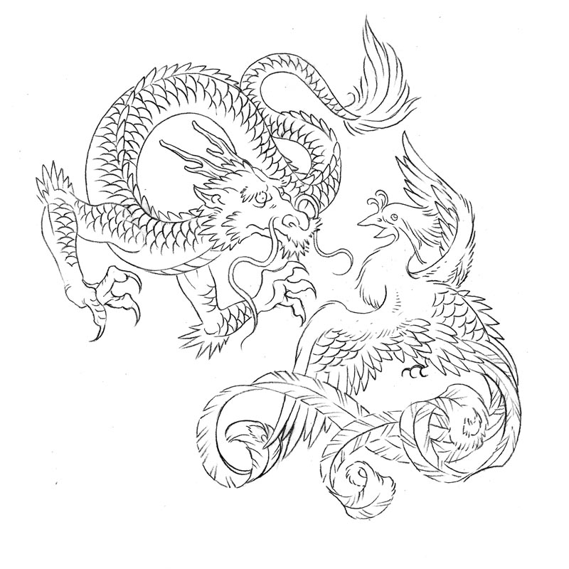 Drawn chinese dragon phoenix Image  Result com/download for