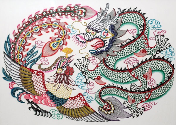 Drawn chinese dragon phoenix Gao Dragon Dian Chinese Pinterest