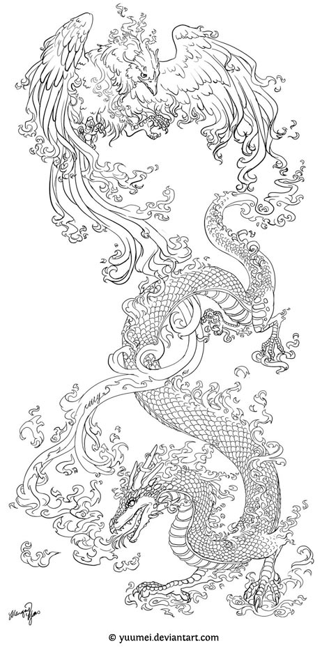 Drawn chinese dragon phoenix Tattoo Tattoos Book Fish Phoenix