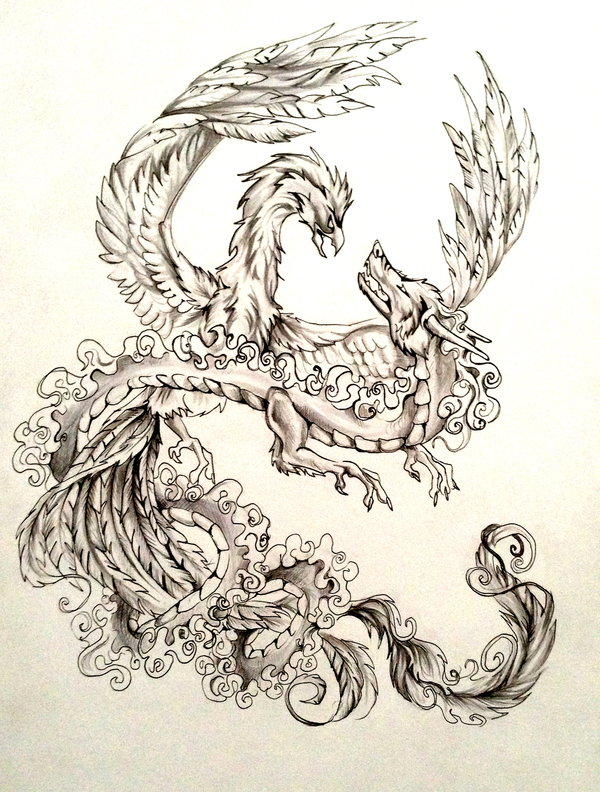 Drawn chinese dragon phoenix Phoenix deviantART Tattoo on Design