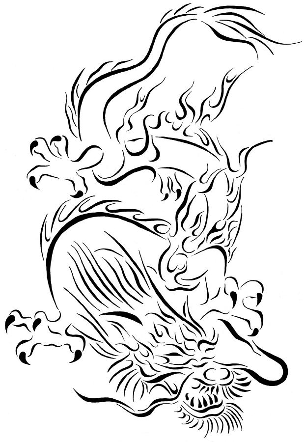 Drawn chinese dragon awesome Chinese Tina Tribal Tribal by