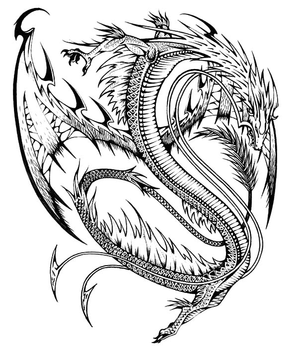 Drawn chinese dragon wing #14