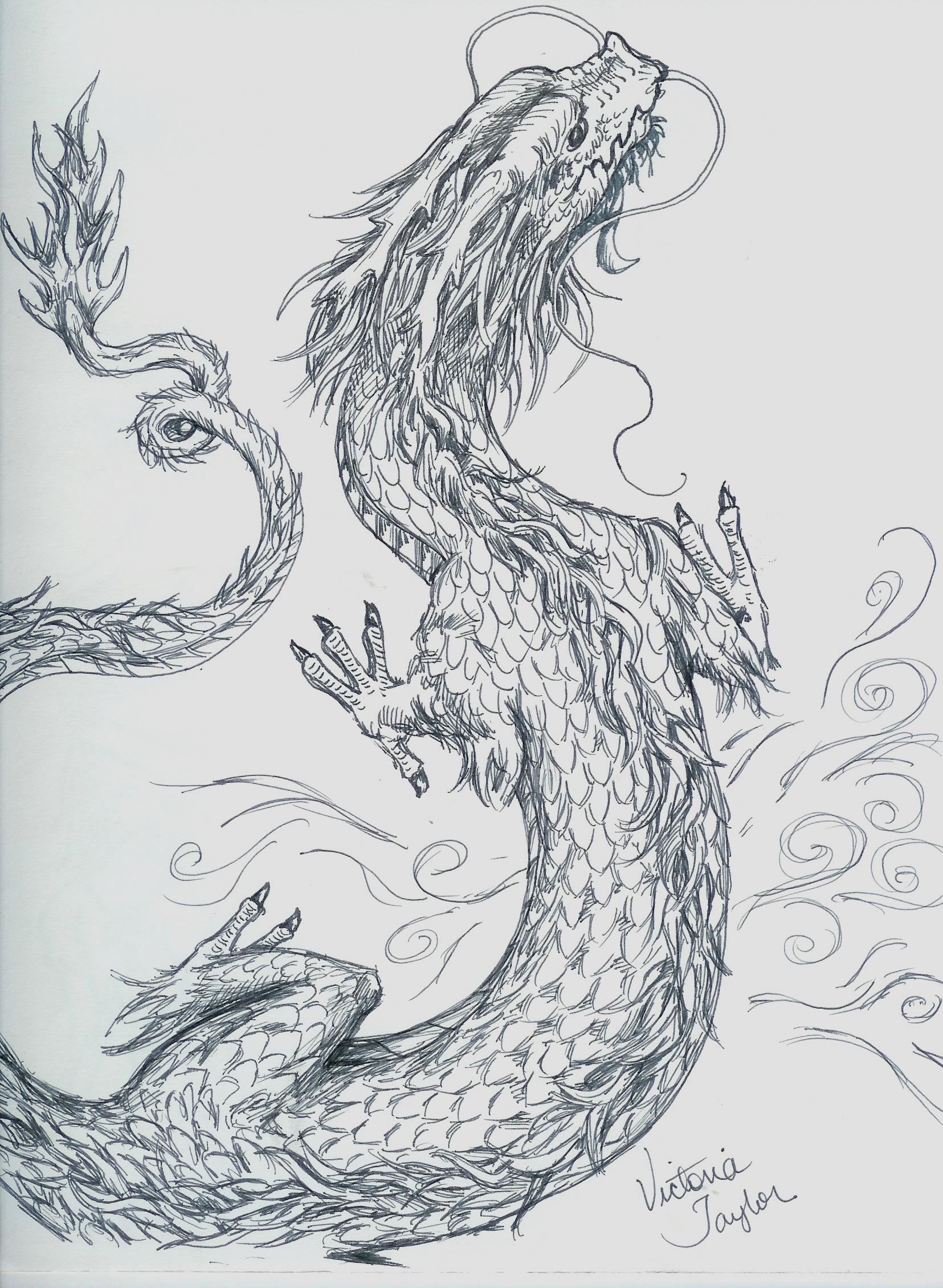 Drawn chinese dragon wing #8